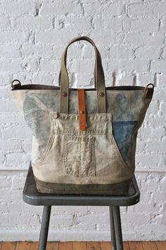 1930s era Denim Work Apron and Military Canvas Carryall