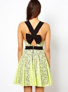 Lime bow dress