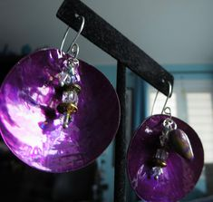 Purple Sea shell Dangle Earrings. SIRTA. With Silver 20g plated ear wires and decorative accent dangles