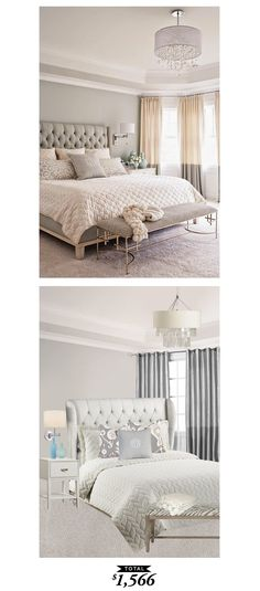 A soft gray and luxurious bedroom featured in @nehomemagazine and recreated by @lindseyboyer for $1,566
