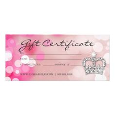 Gift certificates salon spa blue floral grunge personalized rack gift certificates salon spa pink crown lights custom rack cards yadclub Image collections