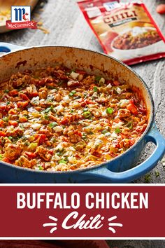 For a fun, spicy twist on classic chili, try it Buffalo-style! This easy meal is the ultimate mashup of flavors – McCormick® Chili Seasoning Mix and Frank's® RedHot Sauce – for a hearty chili the whole family is sure to love.