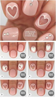 Negative Space Hearts - 20 Ridiculously Cute Valentine's Day Nail Art Designs