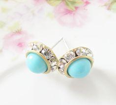 Aqua Blue Rhinestone Post Earrings  Aqua Blue by silverliningdecor, $21.00