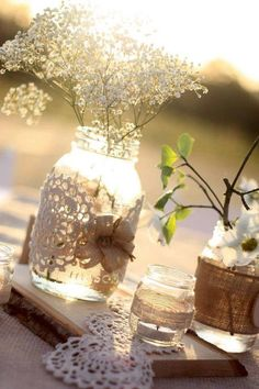 50 Mason Jars for Rustic Country Chic Wedding by DGWeddingsEvents, $250.00