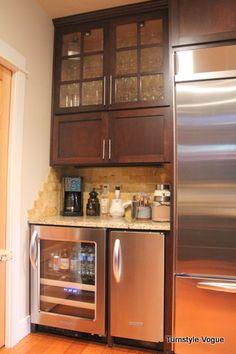 Bar Cabinet With Wine Fridge - Foter New Kitchen, Kitchen Decor, Kitchen Design, Kitchen Ideas, Coffee Center, Bar Cart Decor, Beverage Center, Home Coffee Stations, Wine Fridge