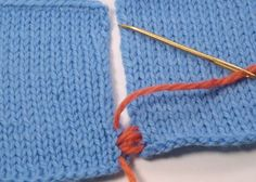Instructions for sewing knitted pieces together.