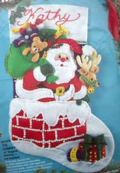 Down the Chimney Santa felt sequins embroidery Christmas stocking unopen kit   #Bucilla