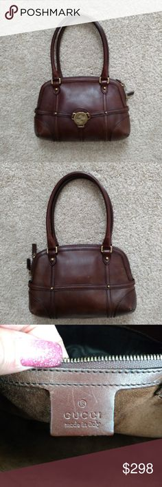 07f6abf9924 Small Brown Gucci Shoulder Handbag Purse Pre-owned authentic Gucci handbag  purse in good