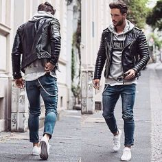 Compressed Cotton Locomotive Leather Jacket Coat - All About Stylish Mens Fashion, Fashion Moda, Stylish Menswear, Fashion Edgy, Fashion 101, Fashion Ideas, Fashion Styles, Street Fashion, Fashion Trends