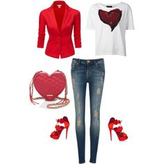 Casual Valentine Date by Deranged Diva. A fashion look from February 2015 featuring Vivienne Westwood Anglomania t-shirts, Doublju blazers and Ted Baker jeans. Browse and shop related looks.