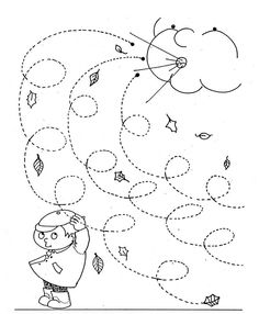 Fall Windy Day line worksheet for kids - Curly lines