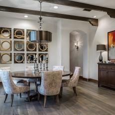 White Transitional Dining Area With Wood Beams & Gray Hardwood Floor