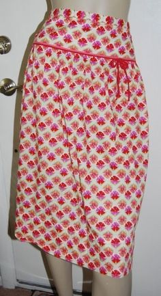 940a4166355 J. CREW Size 10 Skirt Pink Coral White Floral 100% Cotton Dropped Yoke Waist