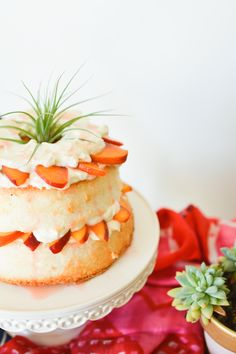 Super easy and delicious dessert idea. Ginger Peach Shortcake on a Martha Stewart cake stand. // cupcakesandcutlery.com