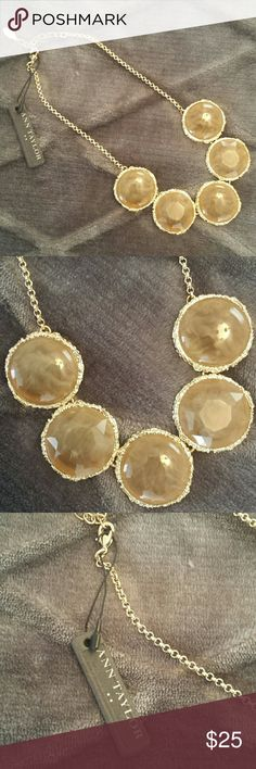 NWT Ann Taylor Enamel Stone Statement Necklace Gorgeous golden stone necklace with amber stones. Feel free to make an offer! Ann Taylor Jewelry Necklaces