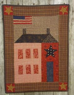 Primitive Folk Art Quilt Pattern:  MY SISTER'S HOUSE. $4.95, via Etsy.