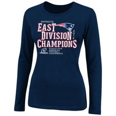 New England Patriots Ladies 2012 AFC East Division Champions Long Sleeve T-Shirt - Navy Blue