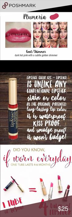 💋Long Lasting Plumeria LipSense Color💋 Beautiful Lip color that stays on ALL DAY!❤️ Color binds to lips and gloss seals it to your lips! 💋 Smear Free, Kiss proof, Waterproof, Wax Free, and Lead Free! If you are a first time user, you need a gloss! I recommend Glossy Gloss, but any other SeneGence Moisturizing Gloss will do☺️ Trust me when I say you'll be amazed with the legitimacy of LipSense💄👄😍 Bundles are encouraged because you save an extra 10% off the sale price! 😱👍 ALL orders…