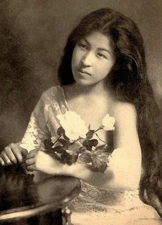 Long haired beauty of old Japan -- The Transformation of a Geisha from East to West. Ca 1905 Meiji-era. Portrait of a Japanese girl.