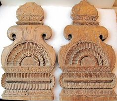 This pair of vintage wood carvings from South India would make lovely decorative wall panels, door panels for a cabinet, or simple wall art.
