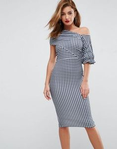 ASOS Textured Gingham Ruffle Sleeve Midi Dress