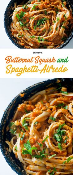 This creamybutternut squash pastasauce is so tasty!  | Butternut Squash and Spaghetti Alfredo | Healthy Pasta Recipes