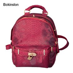 Bokinslon Women Backpack Famous Brand PU Leather Fashion Girl Backpack Designers Casual All-Match Lady Backpack