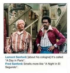 Redd Foxx & Demond Wilson as Fred & Lamont Sanford in Sanford and Son - Alaskan Malamute Puppies, A Day In Paris, Redd Foxx, Sanford And Son, Comedy Tv Shows, Funny Guys, Classic Comedies, Family Show, Tv Shows