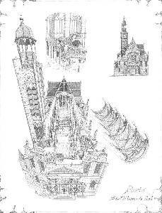 Pianta della chiesa di Saint Etienne du mont a Parigi. Questo edificio fu realizzato nel 1222 sui resti dell'abbazzia di Sainte Geneviève.
