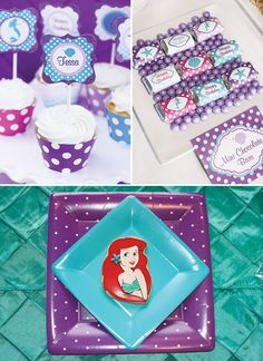 teal and purple mermaid party printables and tablescape