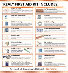 first aid The best first aid kit. The real life-saving first aid kit. When shopping for a first aid kit. Make sure it can support CPR (barrier mask), stop severe bleeding and treat shock. Emergency Preparedness Kit, Emergency Preparation, Survival Prepping, Survival Skills, Survival Gear, Wilderness Survival, Survival Shelter, Car Survival Kits, Emergency Food