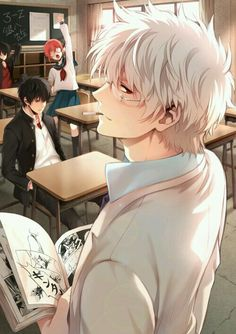White hair anime sensei smirking a little to you