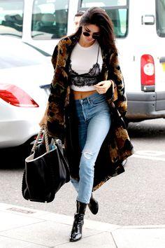 Olga Berg Loves // Kendall Jenner with luxe layers. #olgaberg #streetstyle #kendalljenner