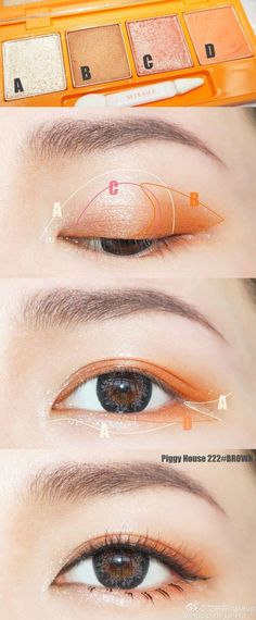Orange eye shadow #Koreanmakeuptutorials #koreaneyemakeup #japanesemakeup