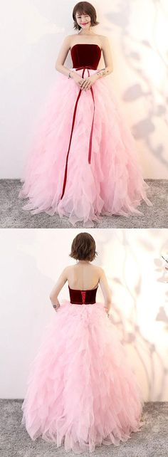 Cute pink tulle long prom dress, evening dress, pink tulle sweet 16 dress