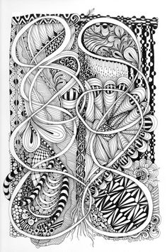 Great flow. Lots of elements, but uncluttered by Certified Zentangle Teacher Carole Ohl