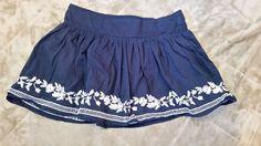 Aeropostale Skirt Navy Blue  mini shirred floral  embroidery Sz S  juniors  #Aropostale #Mini