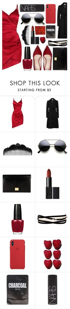 """""""Lady in Red"""" by vanessssa-eve ❤ liked on Polyvore featuring Anna Sui, Victoria Beckham, Kenneth Jay Lane and NARS Cosmetics"""