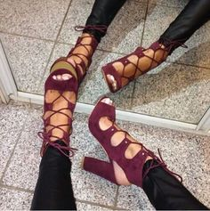 Luxury Brand Wine Red Suede Chunky Heel Sandals Lace-up Open Toe Exposed Heels Gladiator Dress Shoes Thick High Heel Pumps Lace Up Ankle Boots, Heeled Boots, Shoe Boots, Shoes Heels, Strappy Shoes, Dress Shoes, Shoes Sneakers, Fab Shoes, Sneaker Heels