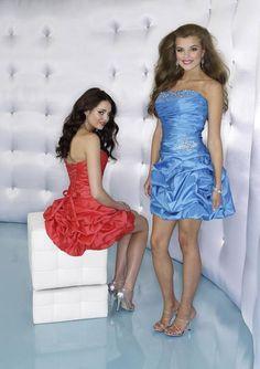 Taffeta Strapless Softly Curved Neckline Short Cocktail Dress - Wedding Dresses UK Online Shop