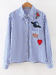 0b7e6d191ac Blue Long Sleeve Applique Stripe Blouse Visual Kei