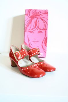 60s Candy Red Platform Saddle Shoes w Original Box by nichestyle, $65.00