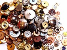 Mixed Metal Buttons, New Old Stock Garment Buttons, 200 pieces, Button Lot # 4