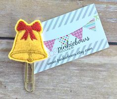 Christmas Bell/Felt Applique Paper Clip/Planner Clip/Bookmark/Journal Marker by pinkiebows on Etsy