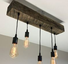 Choose Size Made to Order Reclaimed Barn Timber Beam Light Fixture With Edison Bulbs Rustic/Modern/Industrial Lighting/Bar/Restaurant/Home - Bar Ideen Farmhouse Lighting, Rustic Lighting, Industrial Lighting, Modern Industrial, Bar Lighting, Home Lighting, Modern Rustic, Lighting Ideas, Rustic Contemporary