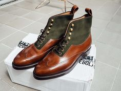 Enzo Bonafe Austerity Brogue Boots from Skoaktiebolaget - Great combination of green suede and mid brown calf.