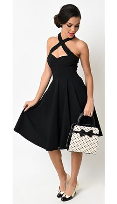 Collectif 1950s Style Black Penny Halter Flare Dress