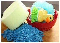 Favorite Things To Add To A Sensory Bin Water Play  Sponges, scrubbers, and sieves
