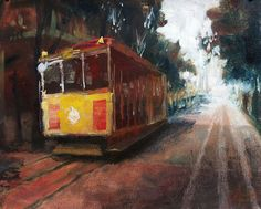 "Original painting, 11x14"", ""San Francisco Trolley Car I""  by Christopher Clark"